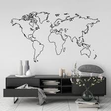 World Map Wall Art Sticker Modern Room Decor Globe Outline Etsy