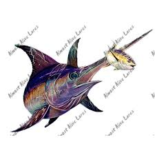 Blue Marlin Billfish Fish Auto Body Rv Boat Glass Window Vinyl Decal Sticker Art