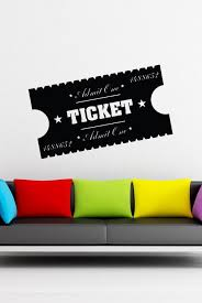Movie Room Ticket Stub Wall Decal Movie Room Wall Decals Vinyl Wall Decals