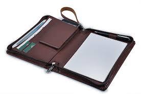 portfolio with notepad holder leather