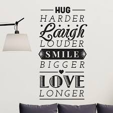 hug laugh smile love quote wall decal shop decals from dana decals