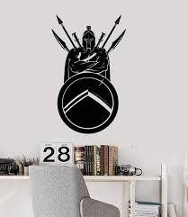 Vinyl Wall Decal Spartan Warrior Helmet Shield Spear Sword Stickers Mu Wallstickers4you