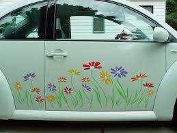 Daisy Flower Decal Stickers In Multicolor Vinyl For Sides And Trunk By Tonyabug Sticker Momma Vinyl Decals Cute Cars Volkswagen New Beetle