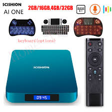 SCISHION AI ONE Android 8.1 Smart TV Box with Voice Control 2G 16G 4GB 32GB  Rockchip 3328 WiFi Set Top Box Bluetooth Set top Box|Set-top Boxes