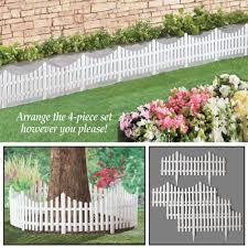 Landscape Edging 4 Piece Set Collections Etc Flexible White Picket Fence Border For Garden Pathways White Decorative Fences Patio Lawn Garden