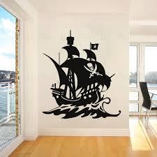 Pirate Ships Wall Vinyl Decal Boat Sailing Wall Stickers Pirate Captain Vinyl Murals Skull Crossbones Wallpaper Home Decor Ac368 Wall Stickers Aliexpress