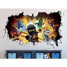 Lego Ninjago Smashed 3d Wall Decal Sticker Vinyl Decor Door Window Poster Mural Movie Games Broken Wa Custom Vinyl Wall Decals Vinyl Decor Wall Decal Sticker