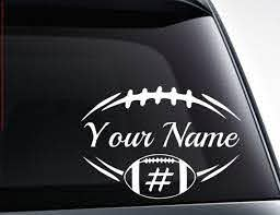 Personalized Football Vinyl Decal Car Sticker Name And Etsy