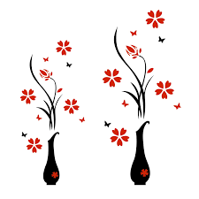 Acrylic Wall Sticker 3d Plum Flower Vase Wall Stickers Home Decoration Wall Decal Red Floral Diy Poster Stickers Acrylic Wall Sticker Wall Stickerwall Sticker 3d Aliexpress