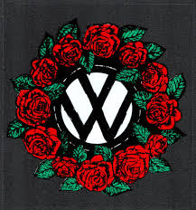 Grateful Dead Car Window Tour Sticker Decal Rose Wreath Surrounding The Vw Volkswagen Symbol