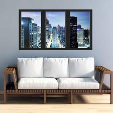 Office Window Decal City Skyline Wall Sticker Removable Etsy