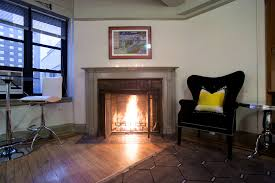 in new york the fireplace flickers