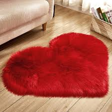 heart shape carpet artificial fur rugs