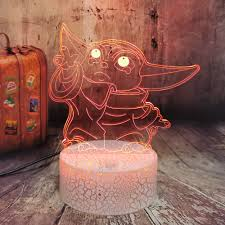 Novelty Gift For Movie Fans Kids Room Moon Lamp Cute Master Yoda Crackle Base Touch 7 Colors Change 3d Motion Sensor Led Light Buy Night Light For Children Christmas Gift Toy
