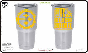 Pittsburgh Steelers Black Gold Set Of 2 Decals For Yeti Cup Vinyl Nfl Sticker Decals For Yeti Cups Vinyl Tumblers Diamond Decals