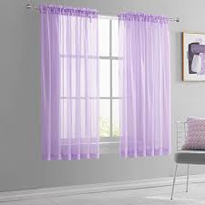 Amazon Com Keqiaosuocai Light Purple Short Sheer Curtains 45 Inch Length For Children Kids Room Sheer Lilac Lavender Voile Drapes For Small Bathroom Basement Kitchen Windows Set Of 2 Panels 52 Inch By