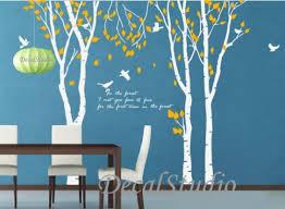 Large Birch Trees Set With Birds Vinyl Wall Decal Art Home Decoration Decalstudio On Artfire