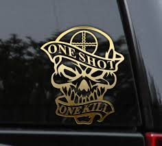 One Shot One Kill Sniper Skull Decal