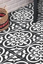 Vinyl Floor Tile Sticker Floor Decals Black And White Vintage Tiles Farmhouse Bathroom Blackandwhite Vinyl Decals A Yer Dosemesi Zemin Boyama Dekor