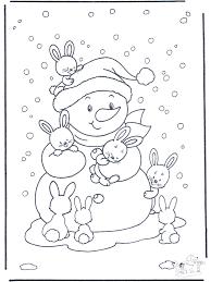 Sneeuwpop Met Konijntjes Kleurplaten Winterdieren