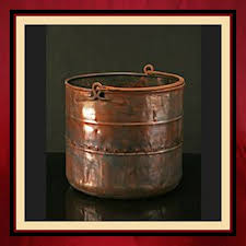 old copper log bucket with handle