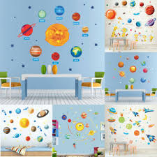 Solar System Wall Sticker Outer Space Planet Wall Decal Kids Room Bedroom Decor Ebay