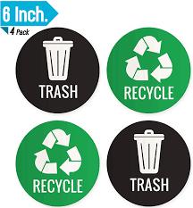Amazon Com Recycle Vinyl Sticker Trash Can Stickers Green Recycle Stickers 6 Large Recycle Sticker Recycling Sticker Garbage Stickers Trash And Recycle Stickers Trash Decal Trash Only Sticker 4 Pack Computers Accessories