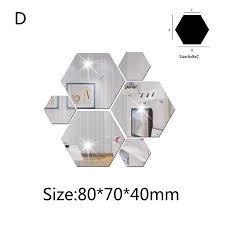 7pcs 3d Mirror Hexagon Vinyl Removable Wall Sticker Decal Home Decor Art Diy Walmart Com