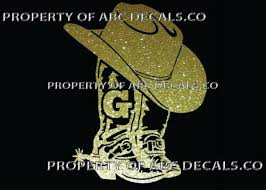 Home Decor Items Vrs Cowboy Cowgirl Boot Hat Custom Initial G Monogram Car Decal Metal Sticker Medicareresources Org