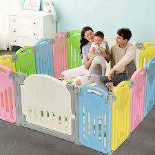 Indoor Or Outdoor Use Educational Toys Music Box Anti Slip Base Astm Cert Foldable Kids Safety Fence Yard W A Lockable Door Nightcore Baby 18 Panel Playpen Green Gray Playards Baby