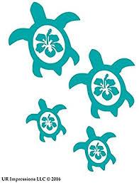 Amazon Com Ur Impressions Teal Hibiscus Sea Turtle Family Of Four Decal Vinyl Sticker Cars Trucks Suv Vans Walls Laptop Teal 7 5 X 6 5 Inch Uri059 T Automotive