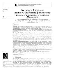 PDF) Forming a long-term industry-university partnership: The case of Rosen  College of Hospitality Management
