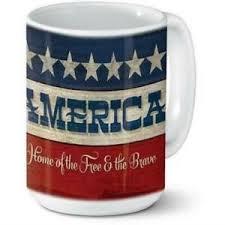 ceramic mug patriotic america home of the the brave