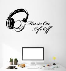 Vinyl Wall Decal Music Lover On Life Off Music Quote Words Inspiration Wallstickers4you