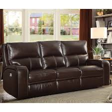 zach 3 seater brown leather power