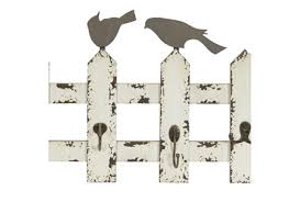 Wood And Metal Picket Fence With Birds Wall Hooks Living Spaces