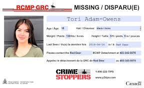 UPDATE: Located. RD RCMP seek assistance in locating 15-yr-old Tori Owens -  LacombeOnline.com