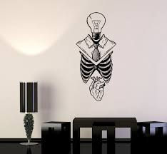 Wall Decal Skeleton Heart Lightbulb Human Anatomy Vinyl Sticker Ed197 Wallstickers4you