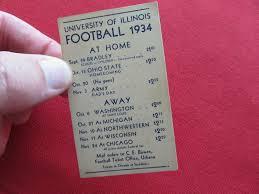 71.1934 Illinois Football Schedule Card