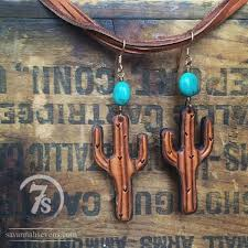 saguaro cactus earrings tooled leather