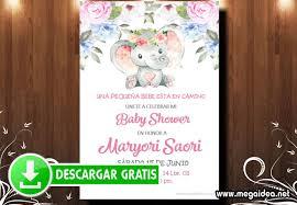 Invitacion Baby Shower Nina Elefante Para Editar Mega Idea