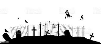 Silhouette Of Graveyard Fence With Flying Ghosts Stock Illustration Download Image Now Istock