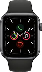Apple Watch Series 5 (GPS) 44mm Space Gray Aluminum Case with Black Sport  Band Space Gray Aluminum MWVF2LL/A - Best Buy