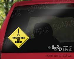 Rockstar On Board Car Decal Fun Baby On Board Sticker Electric Guita Nerd Under The Stairs