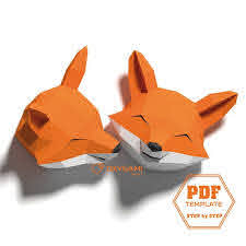 Fox Papercraft 3d Animal Wall Decor 2 Fox Head Patterns With Etsy Paper Sculpture Animal Wall Decor Paper Crafts