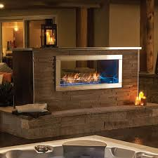 outdoor linear see thru gas fireplace