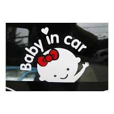 Wholesale Baby In Car Letters Waving Baby On Board Safety Sign Car Decal Sticker White Red From China