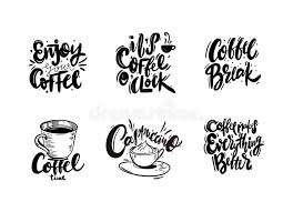 set of coffee quotes a cup vector hand drawn lettering stock