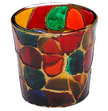 mosaic art glass tealight candle holder