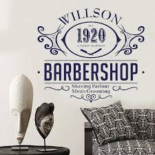 Barbershop Wall Decal Willson 1920 Vinyl Stickers Man Salon Logo Mural Shaving Parlour Men S Grooming Shop Decor Poster Ll493 Wall Stickers Aliexpress